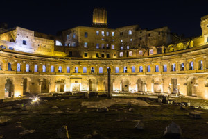 Ruins of Trajan's Market (Mercati di Traiano) in Rome at night